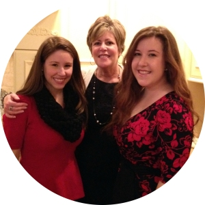 Mom and daughters on Christmas Eve