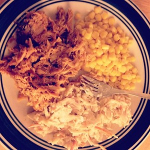 Pulled pork, corn and coleslaw