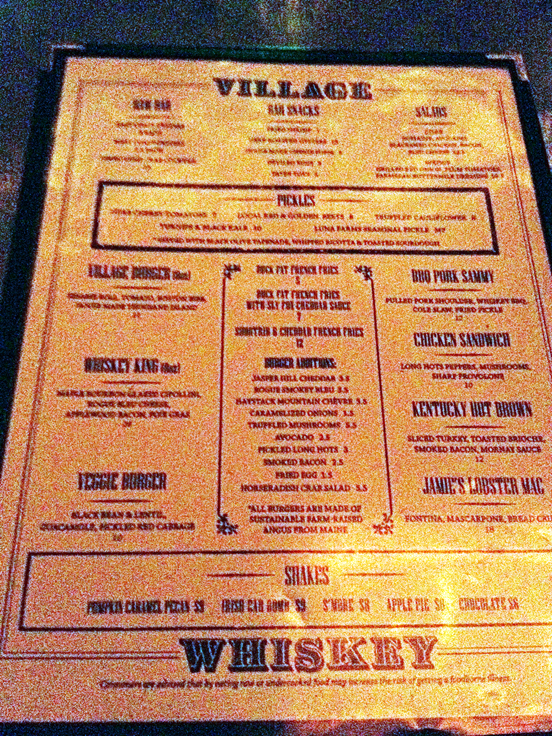 village whiskey menu in philadelphia