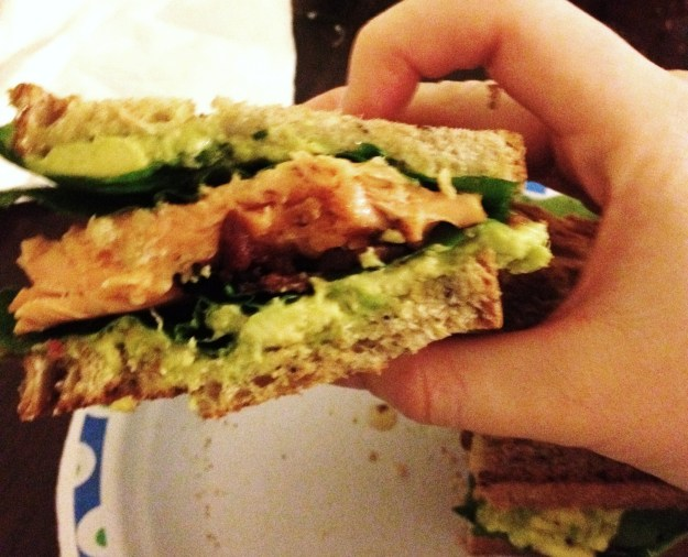 Salon, Guacamole, Bacon & Arugula sandwich