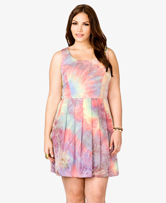Forever 21+ Sweet in Sherbet Wishlist Pleated Tie-Dye Dress
