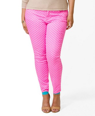 Forever 21+ Sweet in Sherbet Wishlist Polka Dot Skinnies