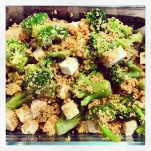 Broccoli, cous cous, tofu and soy sauce