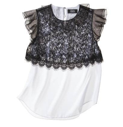 Prabal Gurung For Target® Lace Overlay Top -White/Black
