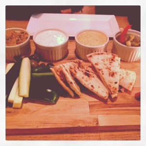 Hummus, pita and veggies at Opa Philadelphia  via Her Philly