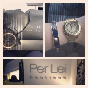 Navy & Gold Bangle from Per Lei Boutique in Media via Her Philly