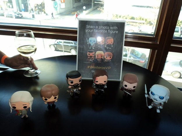 Preview of the Game of Thrones Pop! Television Figurines (Khaleesi, Tyrion Lannister, Khal Drogo, Sandor Clegane, Ned Stark and a Whitewalker) during the HBO Game of Thrones #WesterosVIP Season 3 Premiere! / Her Philly