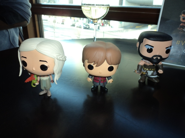 Preview of the Game of Thrones Pop! Television Figurines (Khaleesi, Tyrion Lannister & Khal Drogo) during the HBO Game of Thrones #WesterosVIP Season 3 Premiere! / Her Philly
