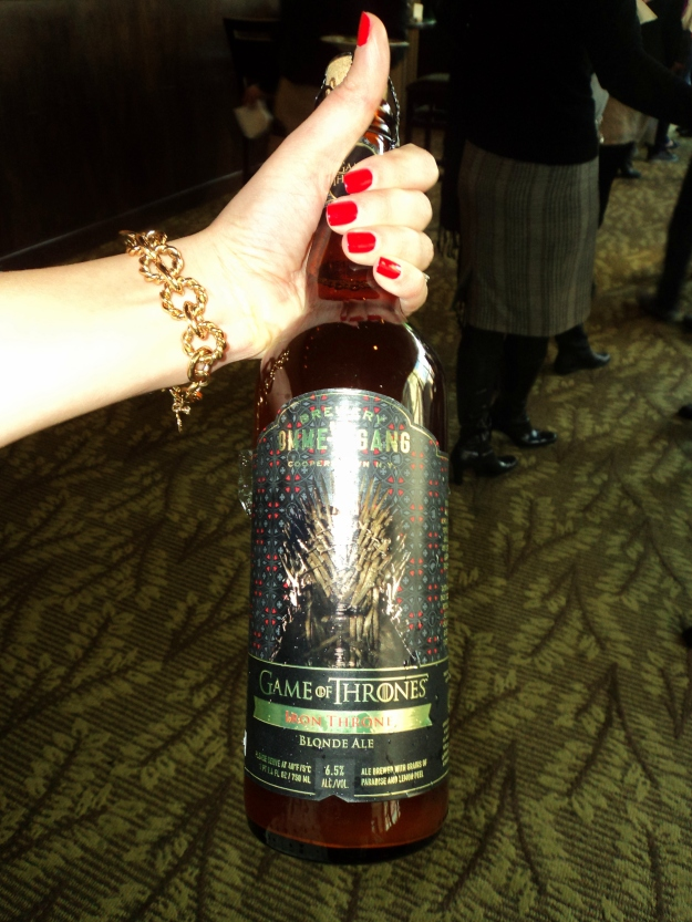 Close up of the bottle art on Brewery Ommegang's Iron Throne Blonde Ale during the HBO Game of Thrones #WesterosVIP Season 3 Premiere! / Her Philly