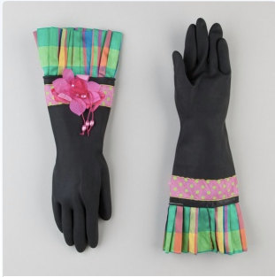 Gorgeous, girly dish gloves by HostessCouture on Etsy / Review at Her Philly