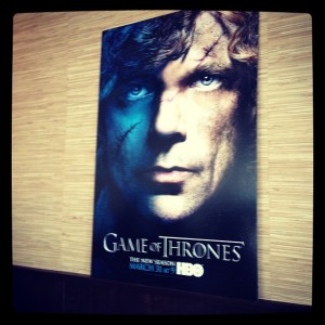 Tyrion Lannister poster at WesterosVIP event / Her Philly